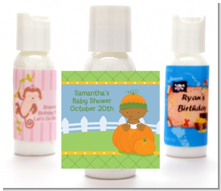 Pumpkin Baby African American - Personalized Baby Shower Lotion Favors