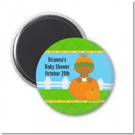 Pumpkin Baby African American - Personalized Baby Shower Magnet Favors