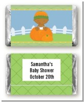 Pumpkin Baby African American - Personalized Baby Shower Mini Candy Bar Wrappers