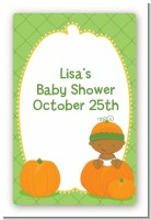 Pumpkin Baby African American - Custom Large Rectangle Baby Shower Sticker/Labels