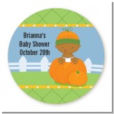 Pumpkin Baby African American - Round Personalized Baby Shower Sticker Labels