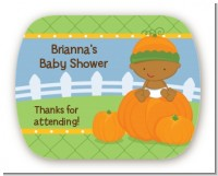 Pumpkin Baby African American - Personalized Baby Shower Rounded Corner Stickers