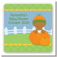 Pumpkin Baby African American - Square Personalized Baby Shower Sticker Labels thumbnail