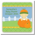 Pumpkin Baby Asian - Square Personalized Baby Shower Sticker Labels thumbnail