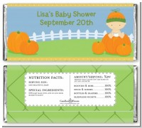 Pumpkin Baby Caucasian - Personalized Baby Shower Candy Bar Wrappers