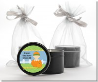 Pumpkin Baby Caucasian - Baby Shower Black Candle Tin Favors