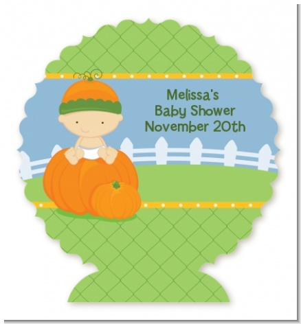 Pumpkin Baby Caucasian - Personalized Baby Shower Centerpiece Stand