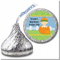 Pumpkin Baby Caucasian - Hershey Kiss Baby Shower Sticker Labels