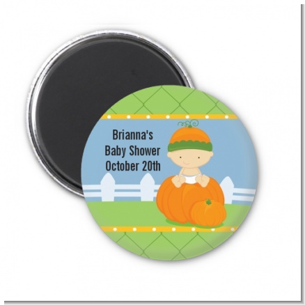 Pumpkin Baby Caucasian - Personalized Baby Shower Magnet Favors