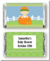 Pumpkin Baby Caucasian - Personalized Baby Shower Mini Candy Bar Wrappers