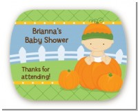 Pumpkin Baby Caucasian - Personalized Baby Shower Rounded Corner Stickers