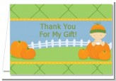 Pumpkin Baby Caucasian - Baby Shower Thank You Cards