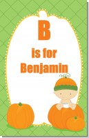 Pumpkin Baby Caucasian - Personalized Baby Shower Nursery Wall Art