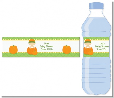Pumpkin Baby Caucasian - Personalized Baby Shower Water Bottle Labels