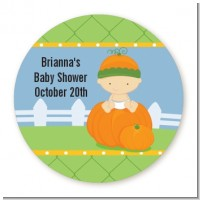 Pumpkin Baby Caucasian - Round Personalized Baby Shower Sticker Labels