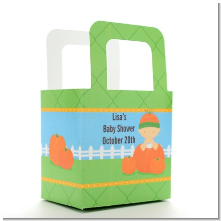 Pumpkin Baby Caucasian - Personalized Baby Shower Favor Boxes