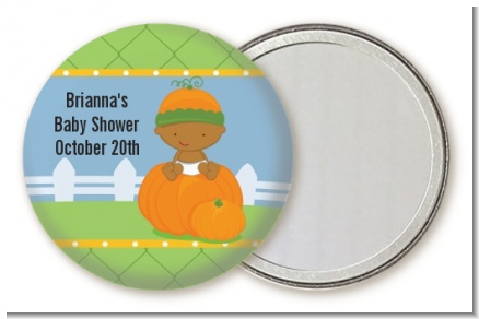 Pumpkin Baby African American - Personalized Baby Shower Pocket Mirror Favors