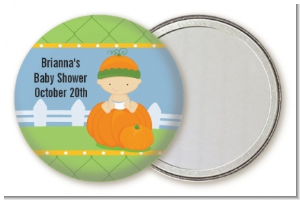 Pumpkin Baby Caucasian - Personalized Baby Shower Pocket Mirror Favors