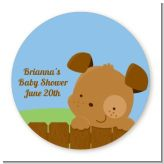 Puppy Dog Tails Boy - Round Personalized Baby Shower Sticker Labels