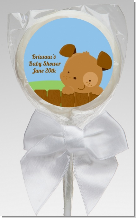 Puppy Dog Tails Boy - Personalized Baby Shower Lollipop Favors