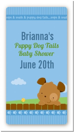 Puppy Dog Tails Boy - Custom Rectangle Baby Shower Sticker/Labels