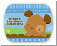 Puppy Dog Tails Boy - Personalized Baby Shower Rounded Corner Stickers