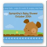 Puppy Dog Tails Boy - Square Personalized Baby Shower Sticker Labels