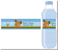 Puppy Dog Tails Boy - Personalized Baby Shower Water Bottle Labels