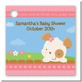Puppy Dog Tails Girl - Personalized Baby Shower Card Stock Favor Tags
