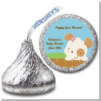 Puppy Dog Tails Girl - Hershey Kiss Baby Shower Sticker Labels