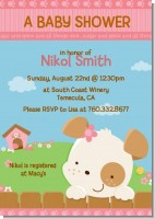 Puppy Dog Tails Girl - Baby Shower Invitations