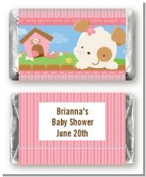 Puppy Dog Tails Girl - Personalized Baby Shower Mini Candy Bar Wrappers