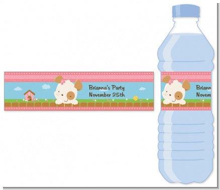 Puppy Dog Tails Girl - Personalized Birthday Party Water Bottle Labels