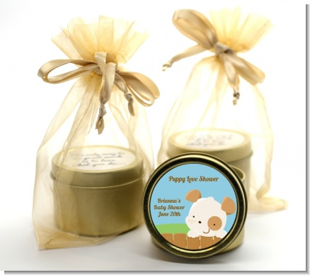 Puppy Dog Tails Neutral - Baby Shower Gold Tin Candle Favors