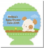 Puppy Dog Tails Neutral - Personalized Baby Shower Centerpiece Stand