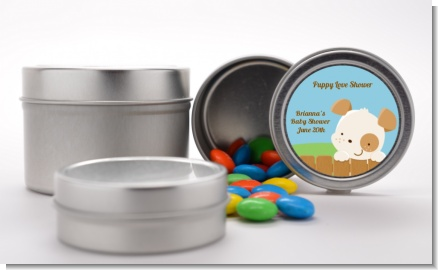 Puppy Dog Tails Neutral - Custom Baby Shower Favor Tins