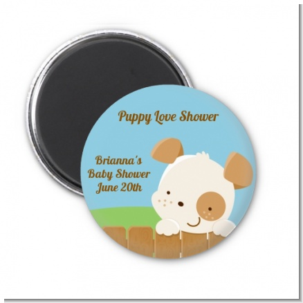 Puppy Dog Tails Neutral - Personalized Baby Shower Magnet Favors