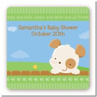 Puppy Dog Tails Neutral - Square Personalized Baby Shower Sticker Labels