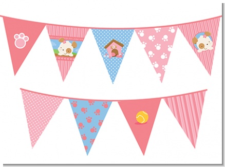 Puppy Dog Tails Girl - Baby Shower Themed Pennant Set