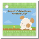 Puppy Dog Tails Neutral - Personalized Baby Shower Card Stock Favor Tags