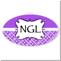 Modern Thatch Purple - Personalized Everyday Party Oval Sticker/Labels
