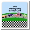 Race Car - Square Personalized Birthday Party Sticker Labels thumbnail