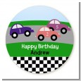 Race Car - Round Personalized Birthday Party Sticker Labels thumbnail