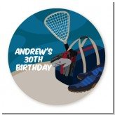 Racquetball - Round Personalized Birthday Party Sticker Labels