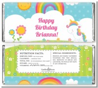 Rainbow Unicorn - Personalized Birthday Party Candy Bar Wrappers