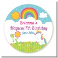 Rainbow Unicorn - Round Personalized Birthday Party Sticker Labels thumbnail