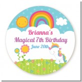 Rainbow Unicorn - Round Personalized Birthday Party Sticker Labels