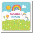 Rainbow Unicorn - Square Personalized Birthday Party Sticker Labels thumbnail