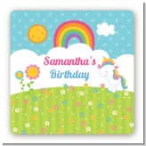 Rainbow Unicorn - Square Personalized Birthday Party Sticker Labels