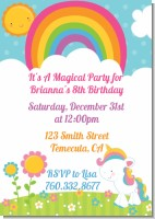 Rainbow Unicorn - Birthday Party Invitations